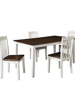 Dorel Living Shiloh 5 Piece Rustic Dining Set Creamy White Rustic Mahogany 0 0 300x360