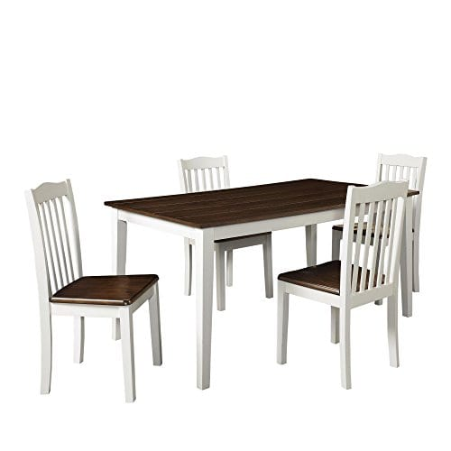 Dorel Living Shiloh 5 Piece Rustic Dining Set Creamy White Rustic Mahogany 0 0
