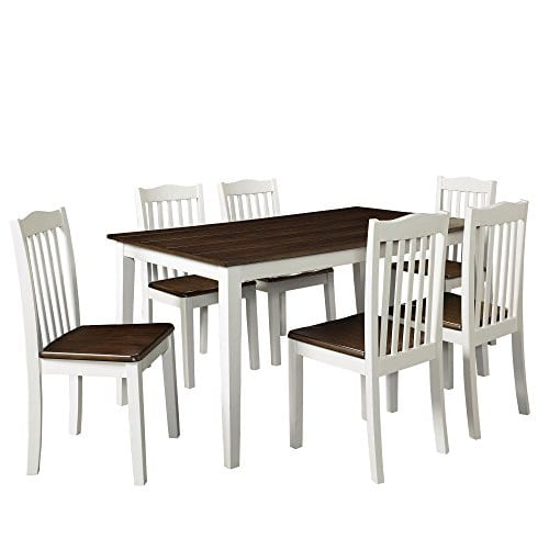 Dorel Living Shiloh 5 Piece Rustic Dining Set Creamy White Rustic Mahogany 0