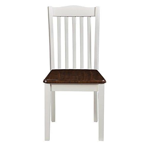 Dorel Living Shiloh Dining Chairs 2 Pack Dark Walnut White 0 1