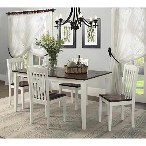 Dorel Living Shiloh Dining Chairs 2 Pack Dark Walnut White 0 3