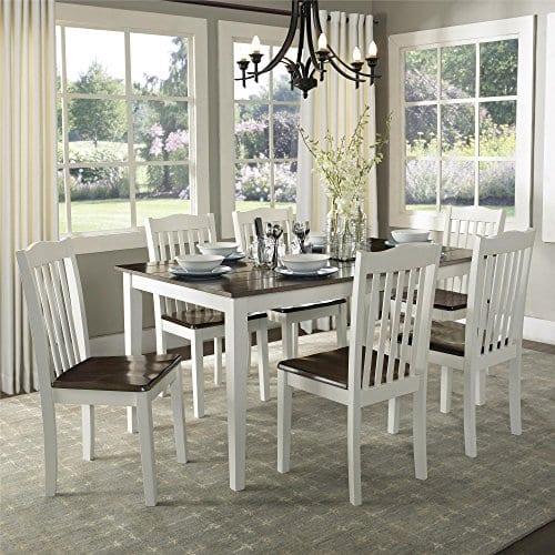 Dorel Living Shiloh Dining Chairs 2 Pack Dark Walnut White 0 4