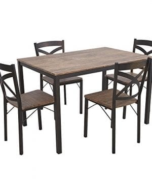 Dporticus 5 Piece Dining Set Industrial Style Wooden Kitchen Table And Chairs With Metal Legs Espresso 0 300x360