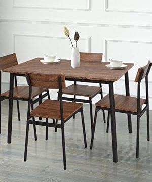 Dporticus 5 Piece Kitchen Dining Room Sets Rustic Industrial Style Wooden Kitchen Table And Chairs With Metal Frame Brown 0 0 300x360