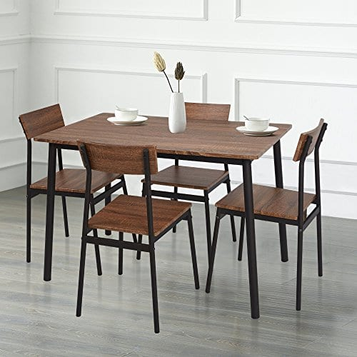 Dporticus 5 Piece Kitchen Dining Room Sets Rustic Industrial Style Wooden Kitchen Table And Chairs With Metal Frame Brown 0 0