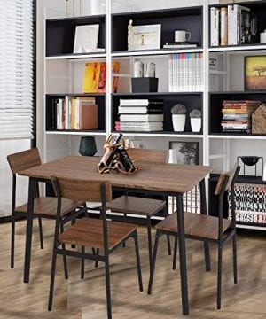 Dporticus 5-Piece Kitchen & Dining Room Sets Rustic Industrial Style Wooden  Kitchen Table and Chairs with Metal Frame- Brown