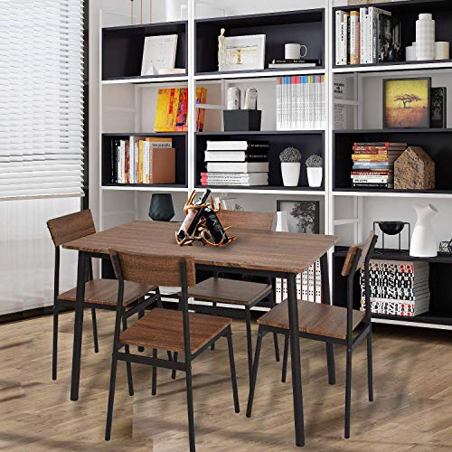 Dporticus 5 Piece Kitchen Dining Room Sets Rustic Industrial Style Wooden Kitchen Table And Chairs With Metal Frame Brown 0 2