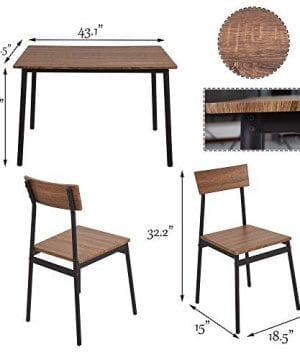 Dporticus 5 Piece Kitchen Dining Room Sets Rustic Industrial Style Wooden Kitchen Table And Chairs With Metal Frame Brown 0 3 300x360