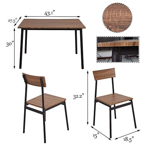 Dporticus 5 Piece Kitchen Dining Room Sets Rustic Industrial Style Wooden Kitchen Table And Chairs With Metal Frame Brown 0 3