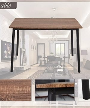 Dporticus 5 Piece Kitchen Dining Room Sets Rustic Industrial Style Wooden Kitchen Table And Chairs With Metal Frame Brown 0 4 300x360