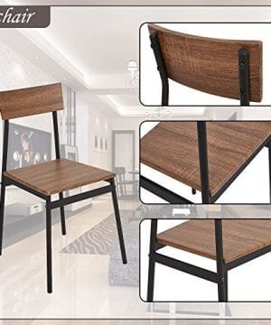 Dporticus 5 Piece Kitchen Dining Room Sets Rustic Industrial Style Wooden Kitchen Table And Chairs With Metal Frame Brown 0 5 300x360