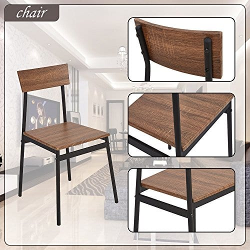 Dporticus 5 Piece Kitchen Dining Room Sets Rustic Industrial Style Wooden Kitchen Table And Chairs With Metal Frame Brown 0 5