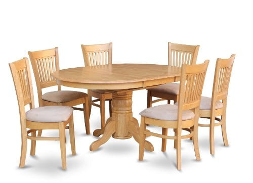 East West Furniture AVVA7 OAK C 7 Piece Dining Table Set 0