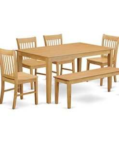East West Furniture 6 Piece Dining Room Set With Bench And 4 Chairs