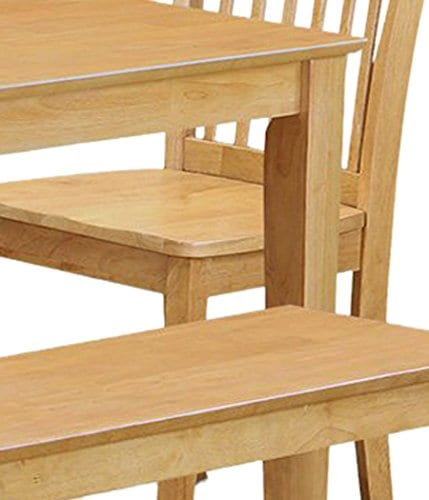 East West Furniture CANO6 OAK W 6 Pc Dining Room Set With Bench Dining Table And 4 Chairs And Bench 0 4