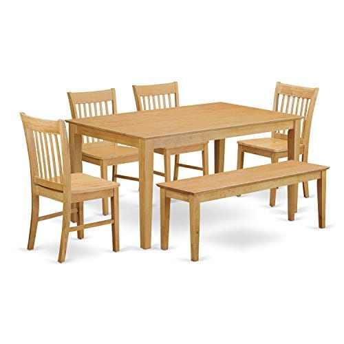 East West Furniture CANO6 OAK W 6 Pc Dining Room Set With Bench Dining Table And 4 Chairs And Bench 0
