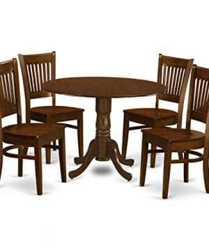 East West Furniture DLVA5 ESP W 5 Piece Dublin Dinette Table With 2 Drop Leaf 9 And 4 Solid Wood Dinette Chairs In Espresso 0 300x360