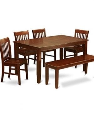 East West Furniture DUNO6D MAH W 6 Piece Dining Table Set 0 300x360