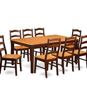 East West Furniture HENL9 BRN W 9 Piece Dining Table Set 0 300x360
