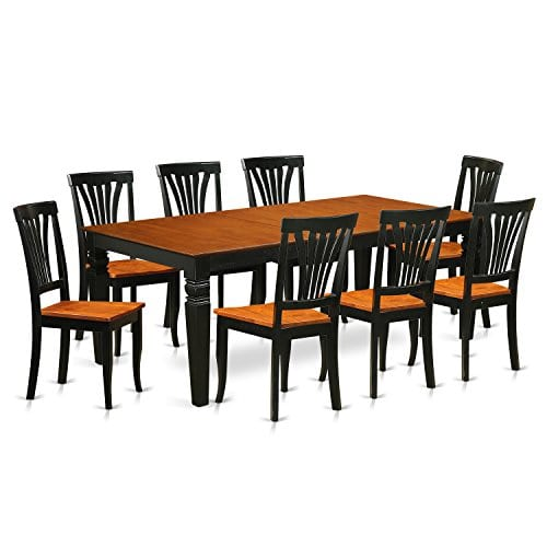 East-West-Furniture-LGAV9-BCH-W-9-PC-Kitchen-dinette-Set-Table-and-8-Dining-Chairs-in-Black-and-Cherry-0