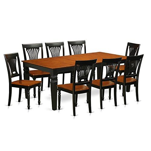 East West Furniture LGPL9 BCH W 9 PC Table Chair Set With One Logan Table 8 Dining Chairs In Black Cherry Finish 0