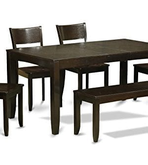 East West Furniture LYFD6 CAP W 6 Piece Dining Room Table With Bench Cappuccino Finish Wood Seat 0 300x333