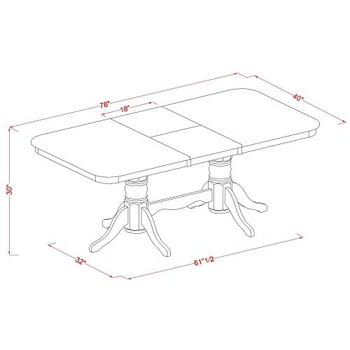 East West Furniture NAAV7 WHI W 7 Piece Dining Table Set 0 3