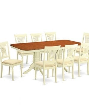 East West Furniture NAPL9 WHI C 9 Piece Kitchen Dinette Table And 8 Dining Chairs 0 300x360