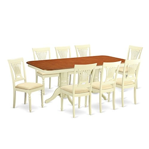 East West Furniture NAPL9 WHI C 9 Piece Kitchen Dinette Table And 8 Dining Chairs 0