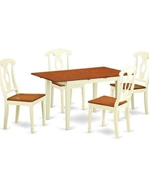 East West Furniture NOKE5 WHI W 5 Piece Table And 4 Dining Chair 0 300x360
