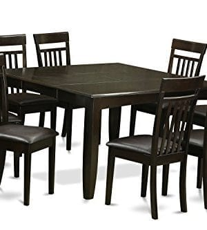 East West Furniture PFCA9 CAP LC 9 Pc Dining Room Set Table And 8 Kitchen Chairs 9 Piece Cappuccino Finish 0 300x333