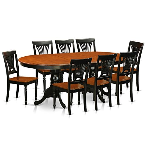 East-West-Furniture-PLAI9-BLK-W-9-PC-Dining-Room-Set-for-8-Dining-Table-and-8-Chairs-for-Dining-Room-0