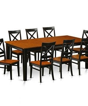 East West Furniture QUIN9 BLK W 9 Piece Dining Table Set BlackCherry Finish 0 300x360