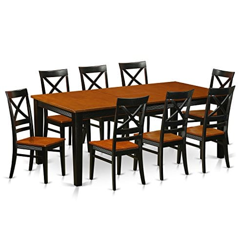 East West Furniture QUIN9 BLK W 9 Piece Dining Table Set BlackCherry Finish 0