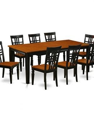 East West Furniture QULG9 BCH W 9 PC Table Set With One Quincy Dining Table Eight Dining Room Chairs In Black Cherry Finish 0 300x360