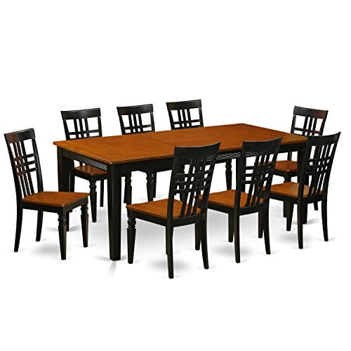 East West Furniture QULG9 BCH W 9 PC Table Set With One Quincy Dining Table Eight Dining Room Chairs In Black Cherry Finish 0