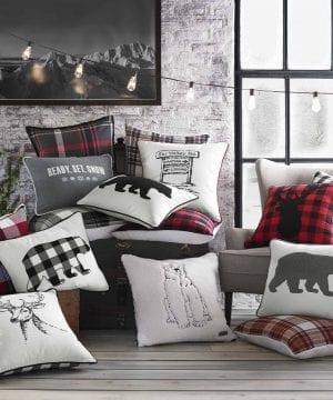 Eddie Bauer Ski Village Throw Pillow 20x20 Red 0 0 300x360