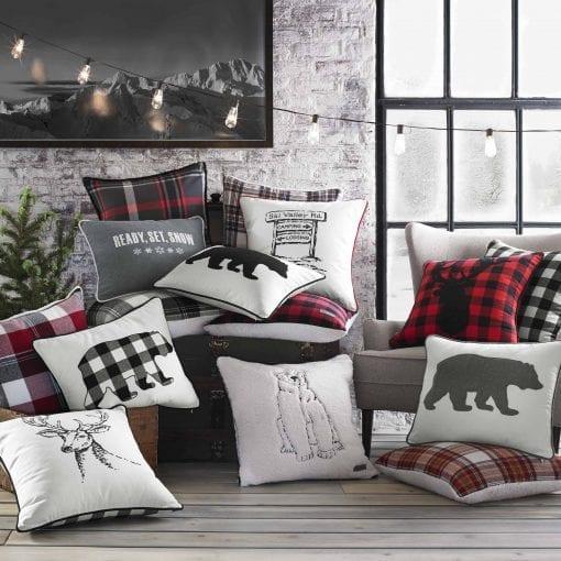 Eddie Bauer Ski Village Throw Pillow 20x20 Red 0 0 510x510