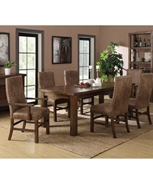 Emerald Home Chambers Creek Brown Upholstered Dining Chair With Arms And Nailhead Trim Set Of Two 0 1 300x360