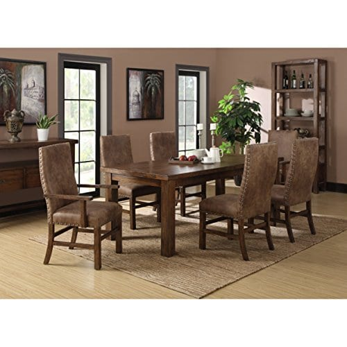 Emerald Home Chambers Creek Brown Upholstered Dining Chair With Arms And Nailhead Trim Set Of Two 0 1
