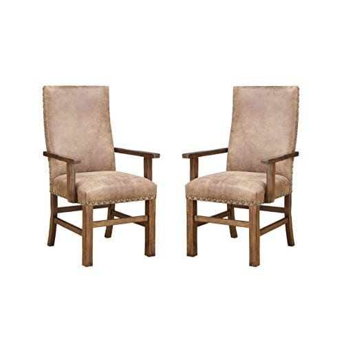 Emerald Home Chambers Creek Brown Upholstered Dining Chair With Arms And Nailhead Trim Set Of Two 0
