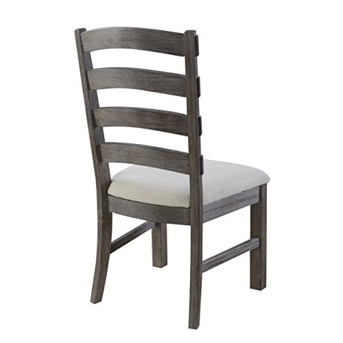 Emerald Home Paladin Rustic Charcoal Gray Dining Chair With Upholstered Seat And Ladder Back Set Of Two 0 2