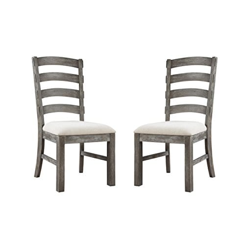 Emerald Home Paladin Rustic Charcoal Gray Dining Chair With Upholstered Seat And Ladder Back Set Of Two 0