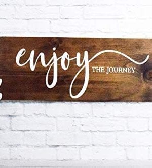 Enjoy The Journey Wood Sign Farmhouse Wooden Quote Wall Decor 0 1 300x331