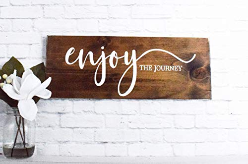 Enjoy The Journey Wood Sign Farmhouse Wooden Quote Wall Decor 0 1