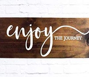 Enjoy The Journey Wood Sign Farmhouse Wooden Quote Wall Decor 0 300x258