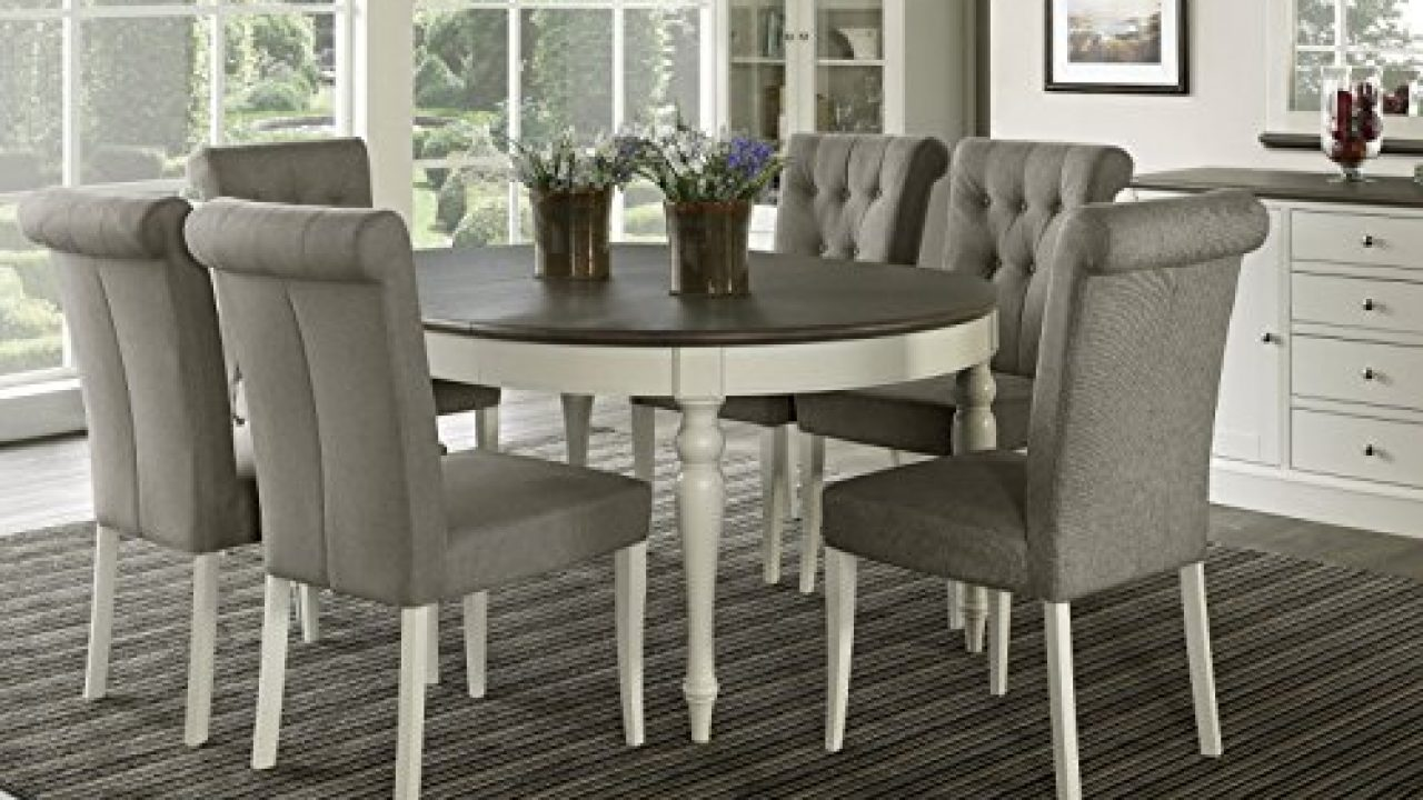 Everhome Designs Vegas 7 Piece Round To Oval Extension Dining Table Set For 6 Parsons Chairs Farmhouse Goals