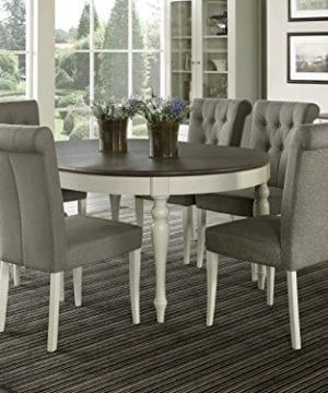 Everhome Designs Vegas 7 Piece Round To Oval Extension Dining Table Set For 6 Parsons Chairs 0 300x360