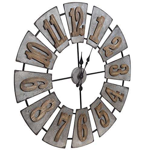 Everly Hart Collection Oversized Metal And Wood Windmill Wall Clocks Silver 0 0