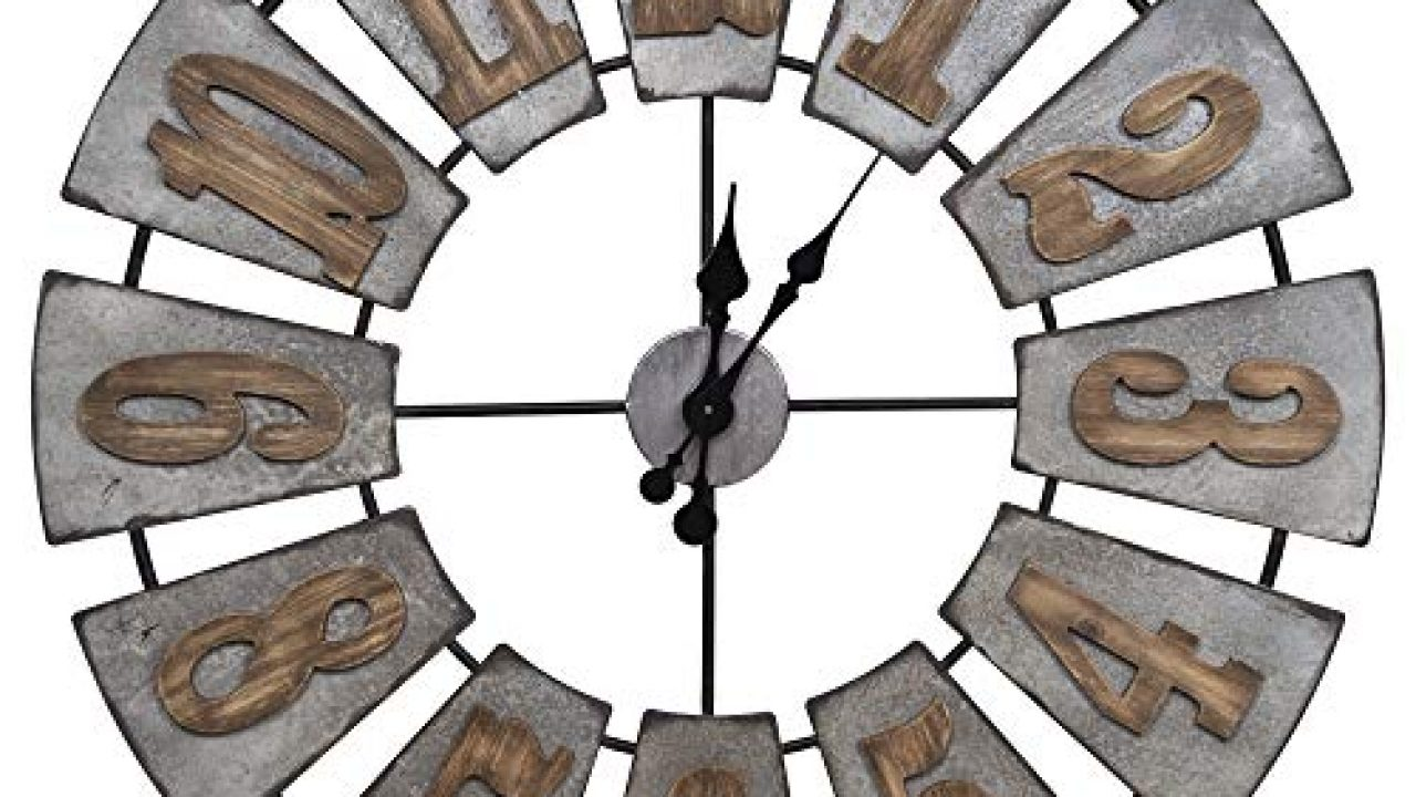 Everly Hart Collection Oversized Metal And Wood Windmill Wall Clocks Silver Nbg Home 18fp1443a Home Kitchen Home Decor